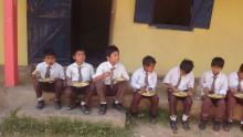 Childrens having Mid Day Meal
