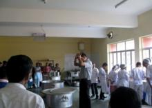 Gathered to learn cooking
